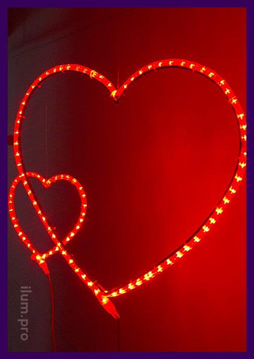 Сердца светящиеся разного размера