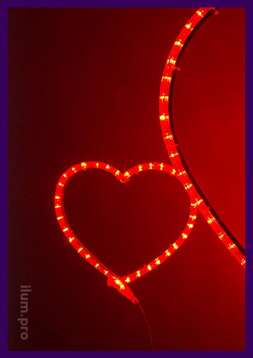 Красные светодиодные сердечки для деревьев