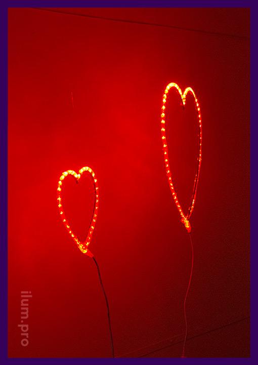 Красное матовое сердце с подсветкой из дюралайта