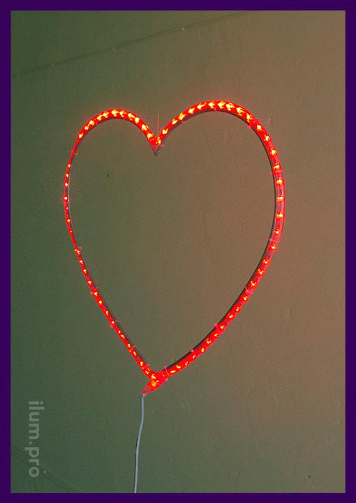 Светодиодное сердце из красного дюралайта