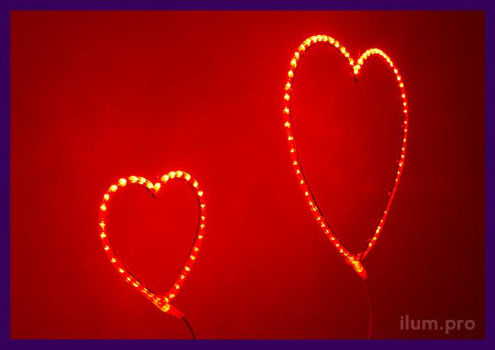 Сердце красное из дюралайта с подсветкой контура