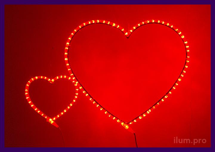 Сердца красные разного размера из дюралайта