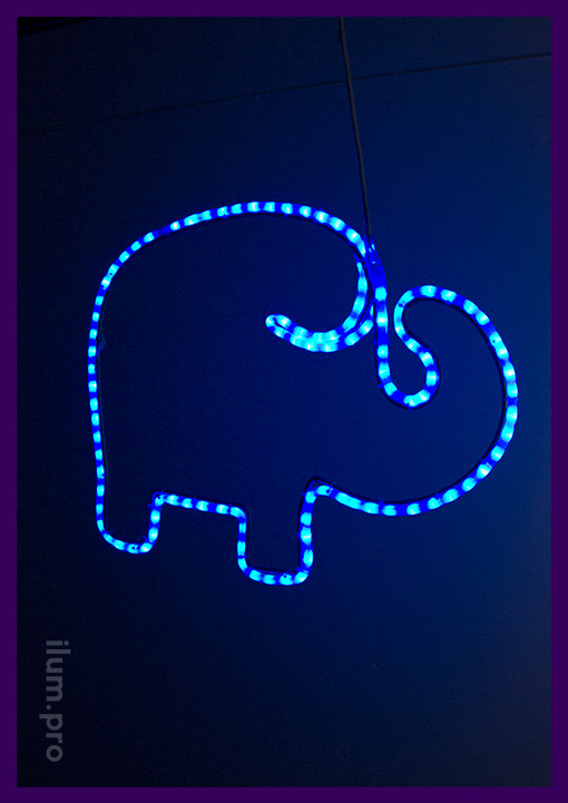 Светодиодная фигурка слона из дюралайта