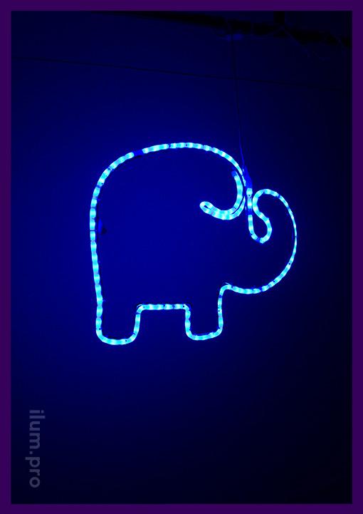 Светодиодный слон синий из металлического каркаса