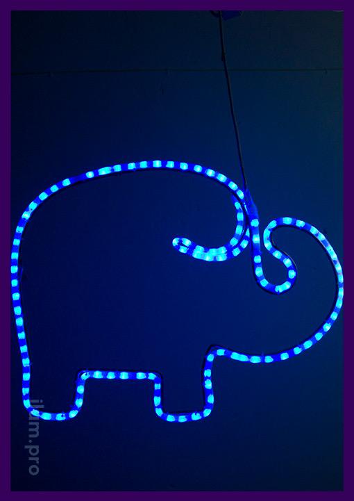 Светодиодный слон из синего дюралайта и металла