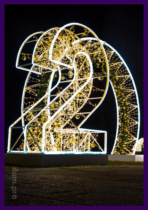Фотозона с крупными цифрами и аркой в парке Капотни на Новый год
