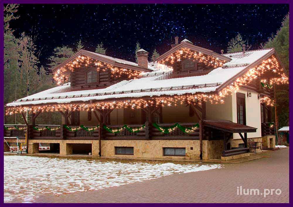 Проект украшения крыши частного дома светодиодными гирляндами с огоньками