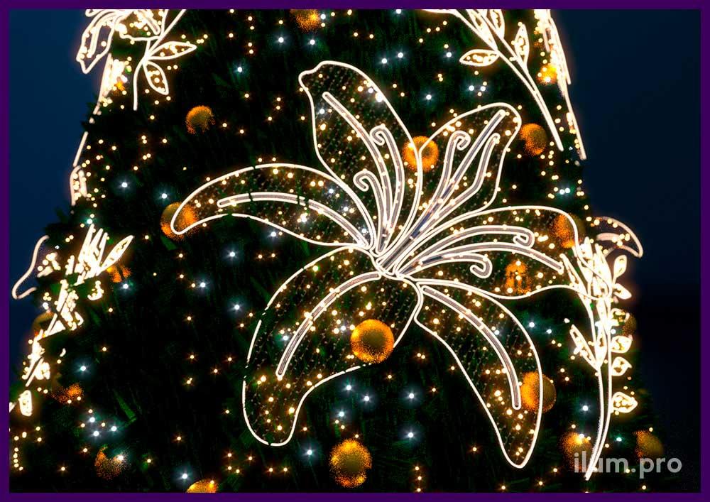 Подсветка ёлки фигурами световыми в форме цветов и растений