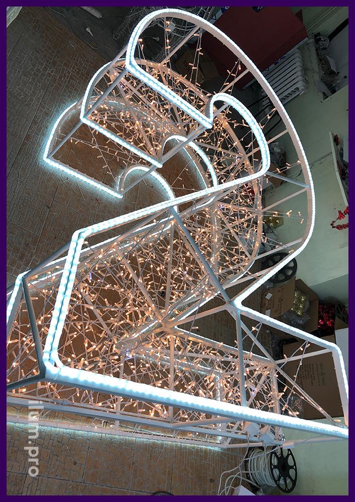Производство цифр из металла с подсветкой контуров дюралайтом