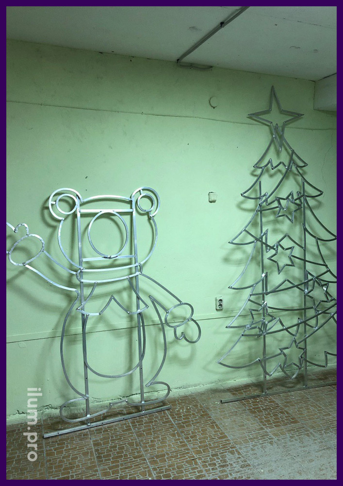 Каркасы уличных световых фигур для украшения города на праздники