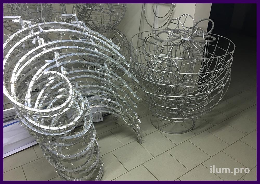 Производство новогодней иллюминации из гирлянд на металлическом каркасе