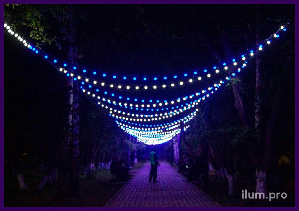 Украшение парка гирляндами с лампочками белого и синего цвета
