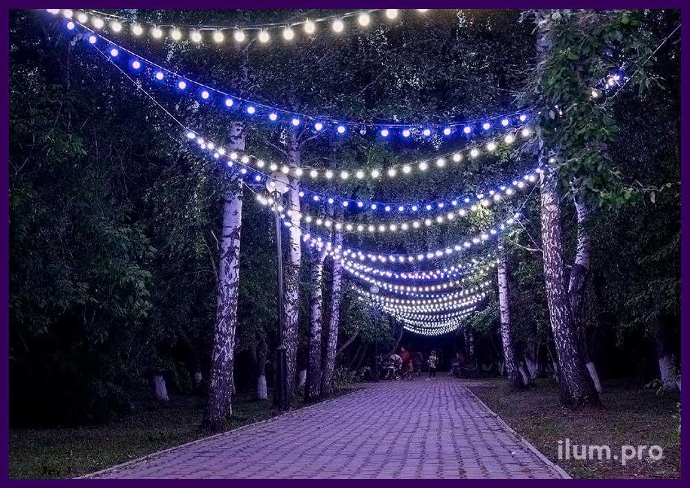 Подсветка парковой дорожки гирляндами с лампочками разных цветов