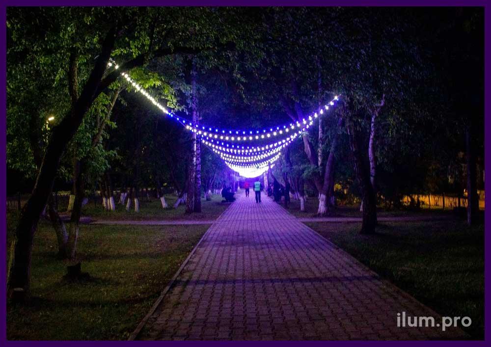 Украшение парка в Пермском крае светодиодным белтлайтом с крупными лампочками