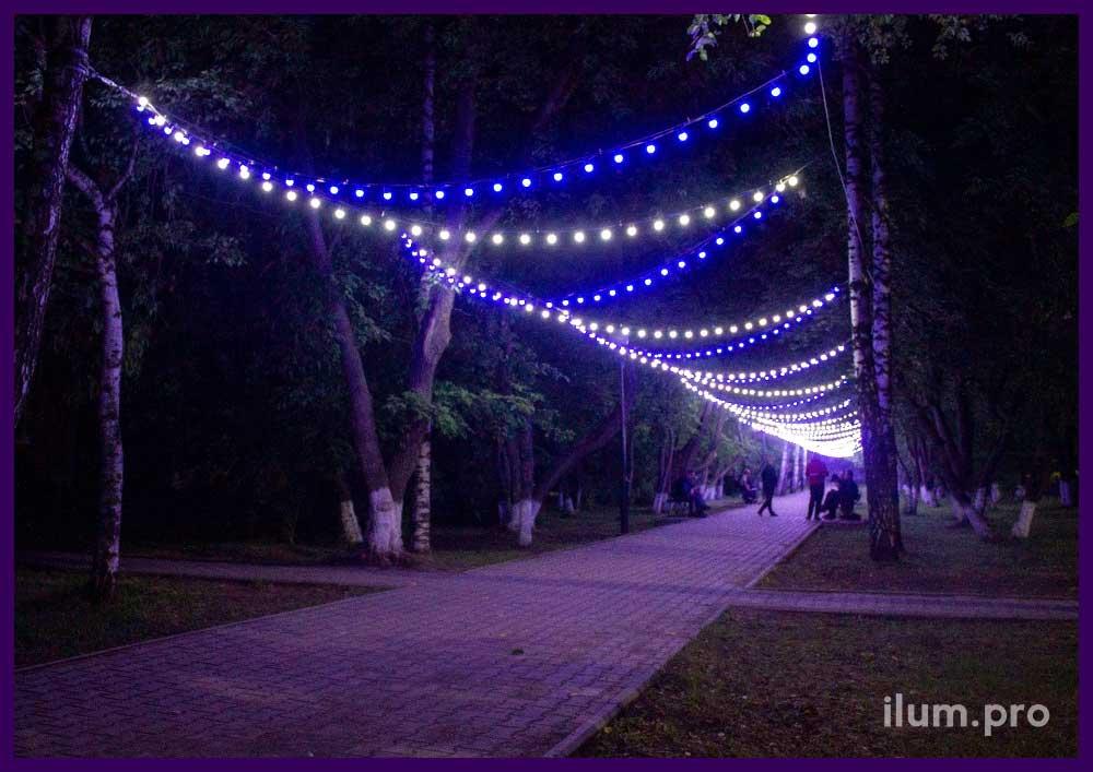 Гирлянда с резиновым проводом и лампочками для улицы