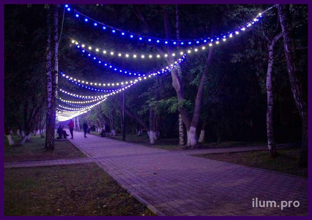 Украшение парка в Пермском крае светодиодными гирляндами белого и синего цвета
