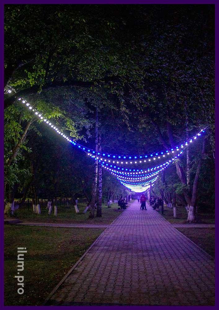 Украшение парка светодиодной иллюминацией в Пермском крае