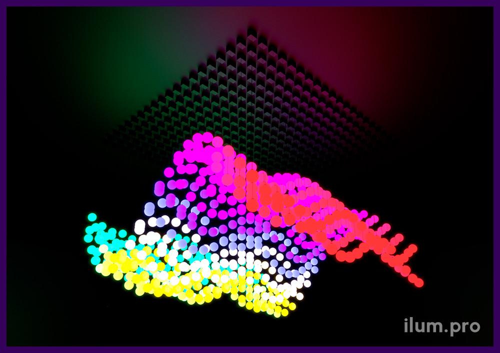 Шары, которые движутся вверх и вниз и меняют цвет свечения