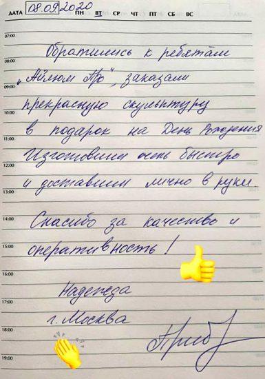 Отзыв покупателя металлической полигональной фигуры из Москвы