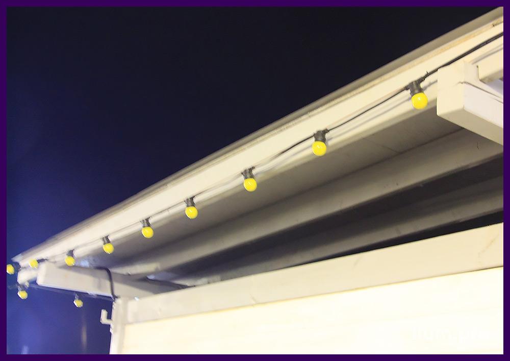 Лампочки светодиодные жёлтые на гирлянде белтлайт