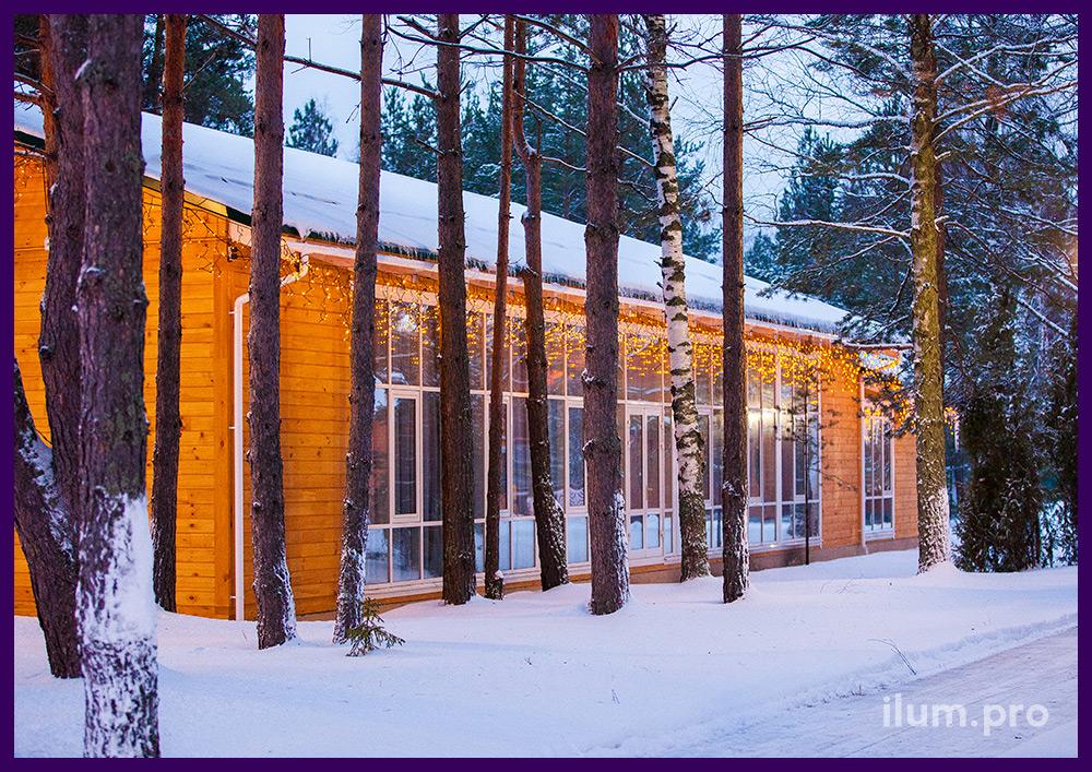 Украшение фасада, световые гирлянды бахрома, которые можно использовать круглый год