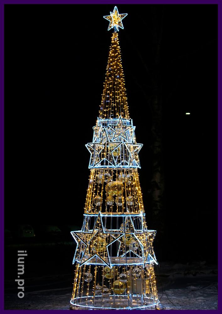 Ёлка светодиодная в форме конуса со звездой на макушке из дюралайта и нитей