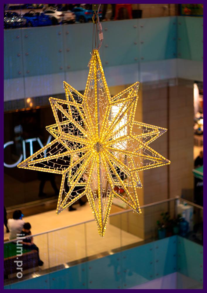 Светодиодные звёзды с гирляндами на каркасе из алюминиевого прутка в Новом Уренгое