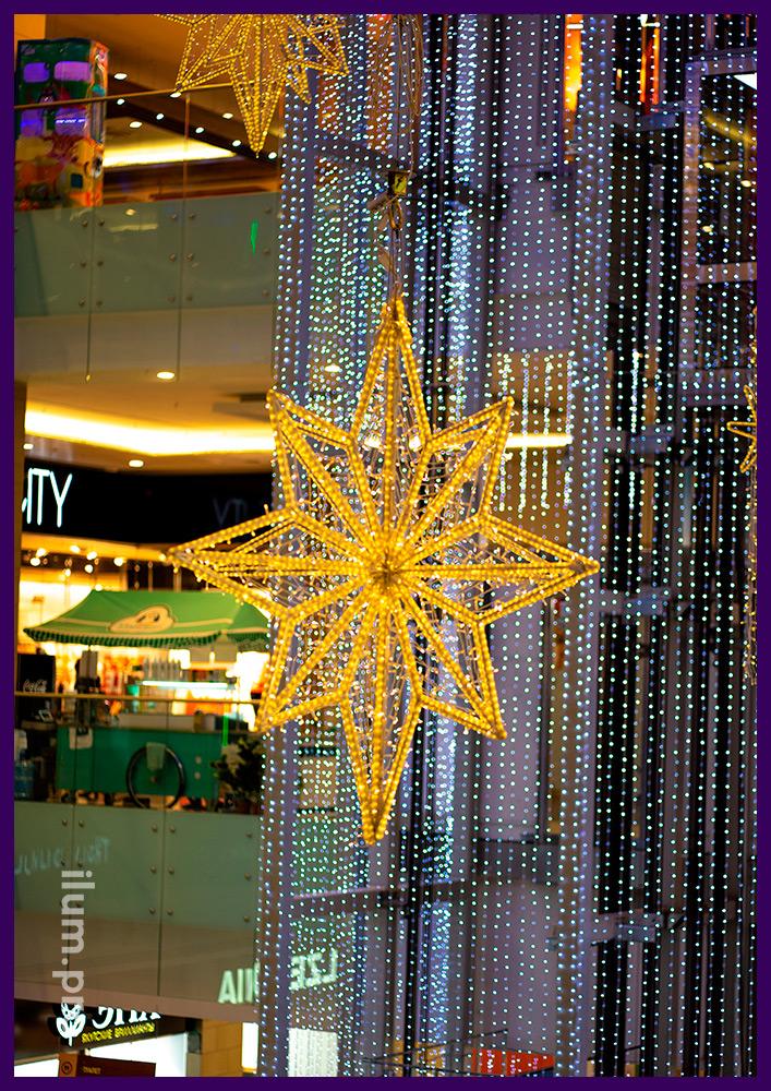 Матовая звезда тёпло-белого цвета с контурами из дюралайта с матовой трубкой в ТЦ Солнечный