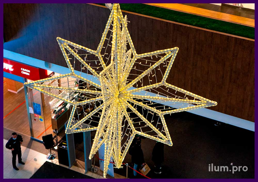 Новогоднее украшение интерьера ТЦ световыми фигурами в форме звёзд с гирляндами