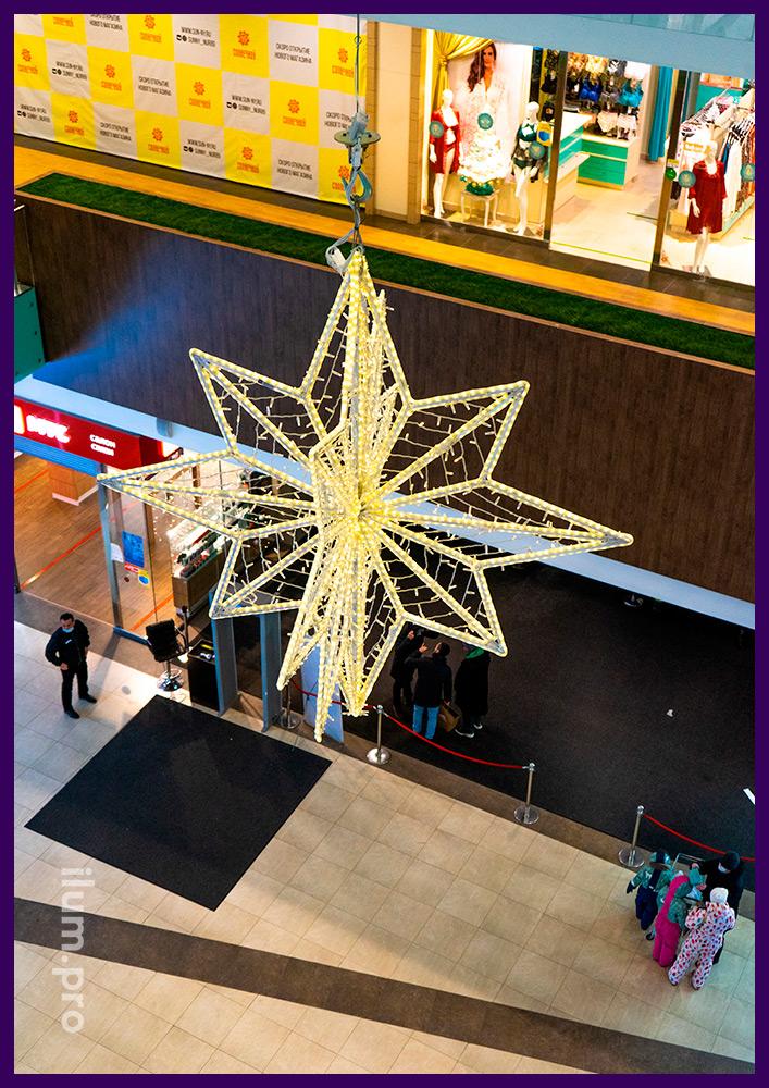 Новогодние украшения для торговых центров с подсветкой качественной иллюминацией