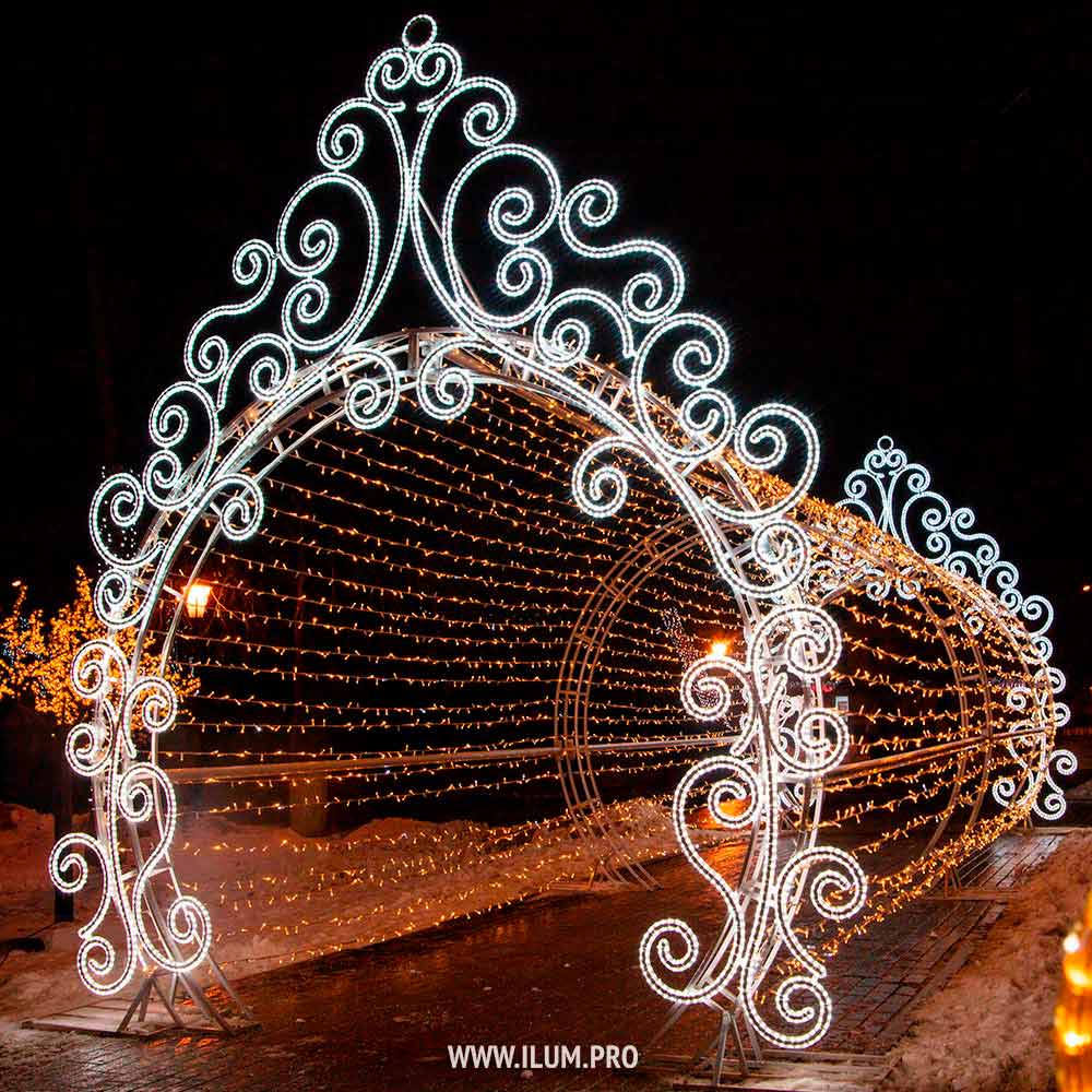 Светодинамический тоннель из гирлянд в Чехове на Новый год