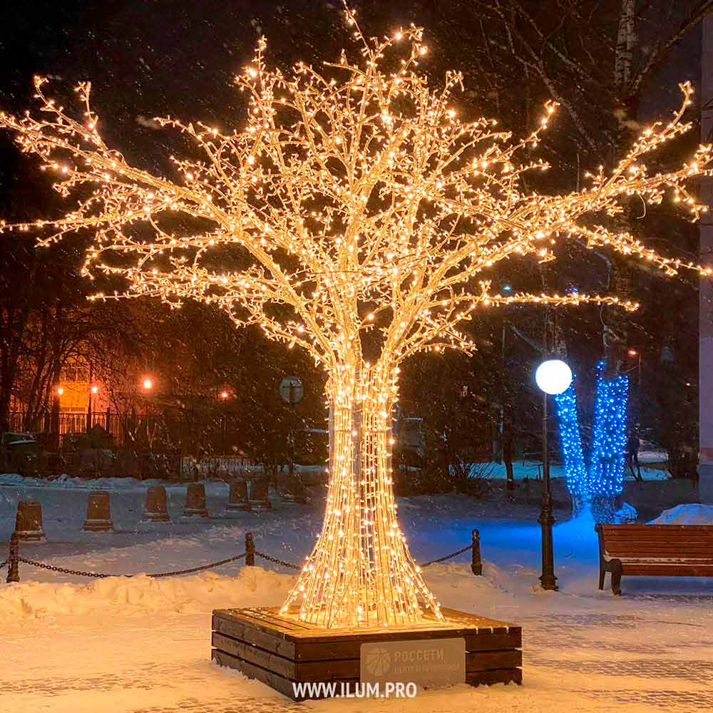Светодиодное дерево с гирляндами и лавочкой во Владимире