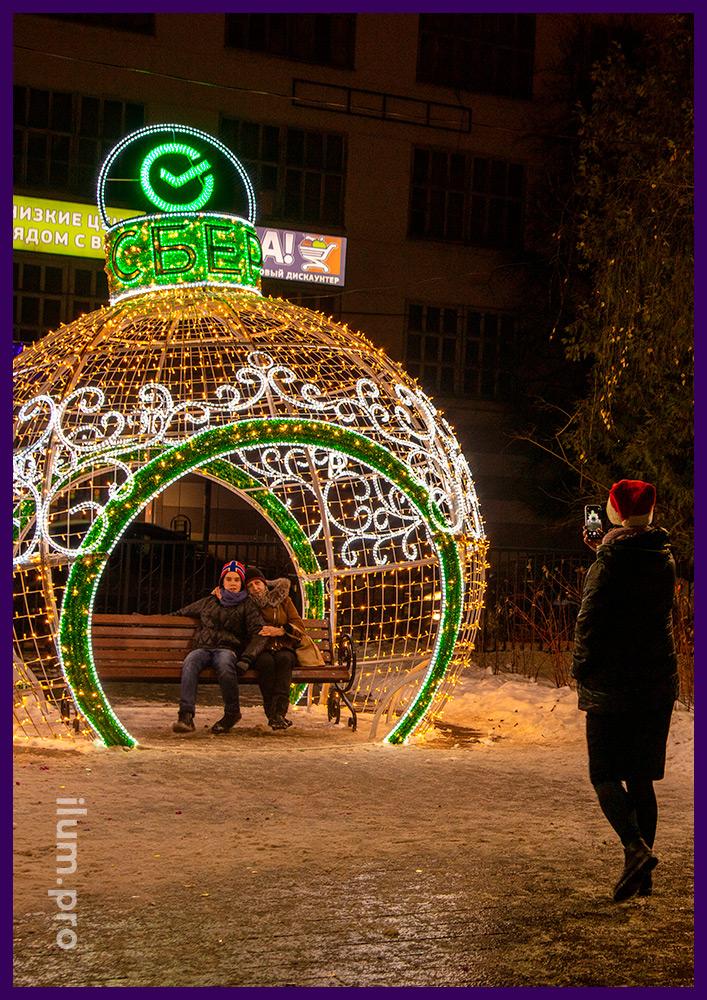 Новогодние декорации в Московской области для украшения парков и скверов с гирляндами
