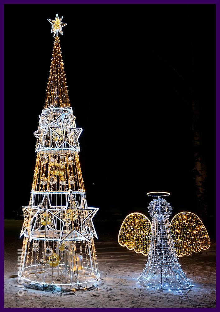 Новогодняя иллюминация в форме ангелов, нот и ёлка со звёздами белого цвета