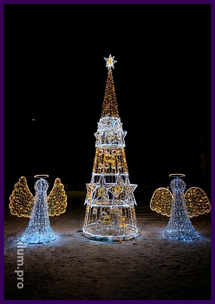 Ёлка и ангелы из светодиодных гирлянд и металлического каркаса с подсветкой