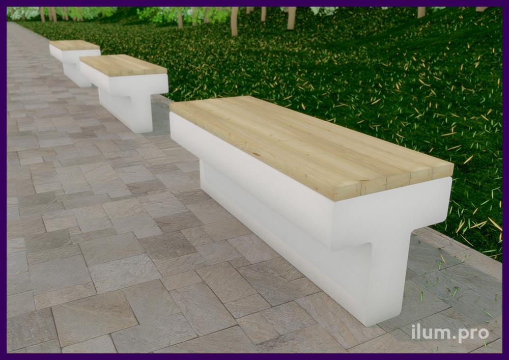 Благоустройство территории, установка бетонных скамеек с деревянным покрытием