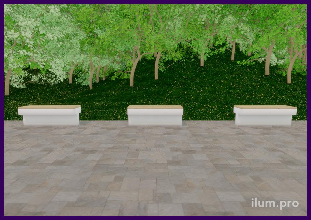 Уличные скамейки из бетона и дерева, основание в форме буквы Т из железобетона