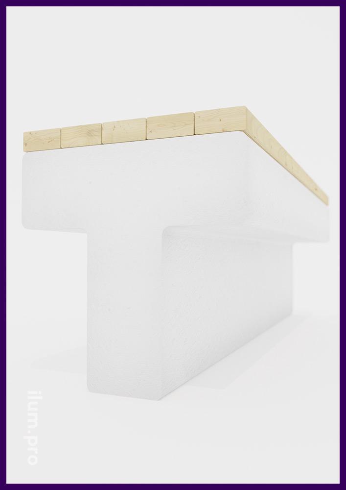 Модульная скамейка в форме буквы Т с высотой сиденья 55 см и длиной 2 метра