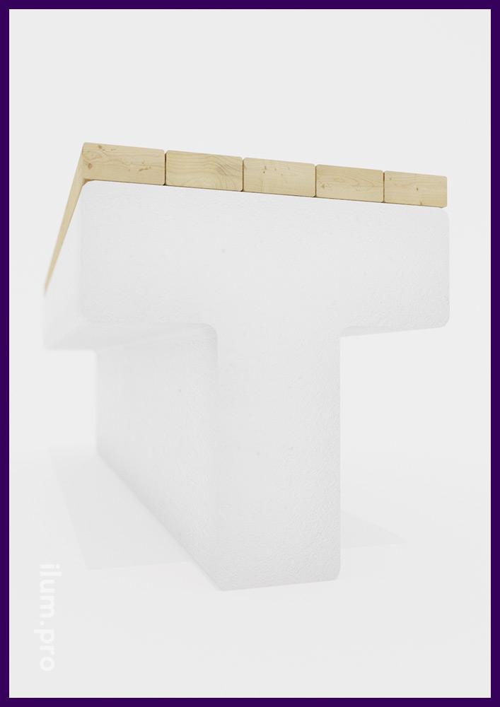 Скамейка в форме буквы Т с деревянными досками и монолитным бетонным основанием