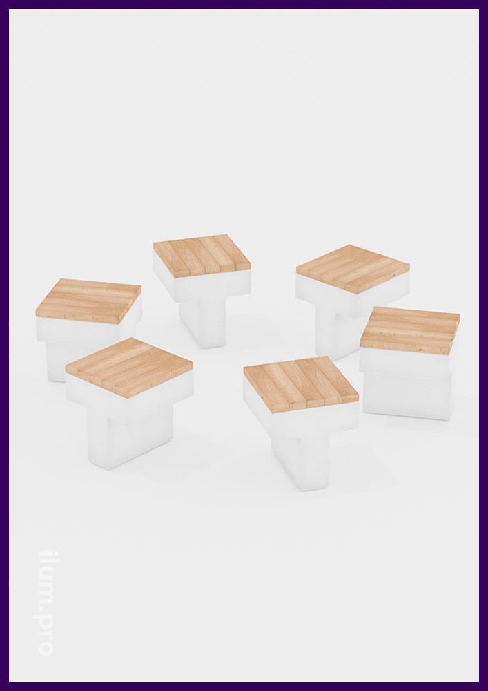 Декоративная скамейка из бетона и дерева для установки на улице или в парке