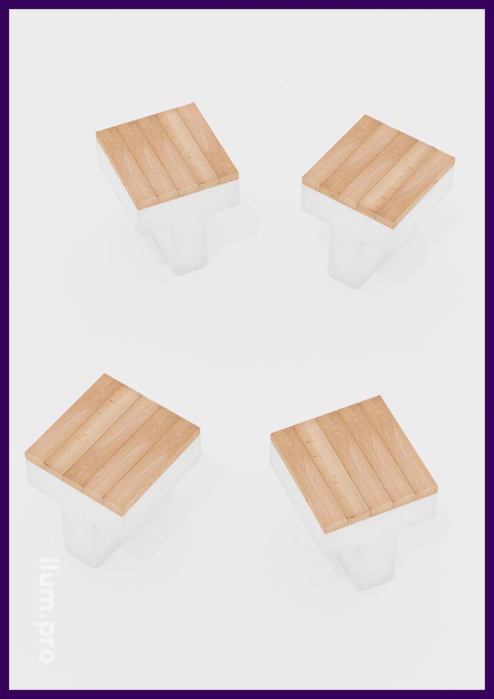 Модульная скамейка в форме буквы Т с высотой сиденья 55 см и длиной 0,5 метра