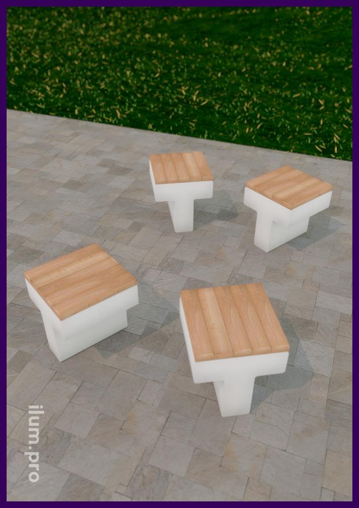 Скамейка из бетона и дерева для благоустройства парков и скверов, дворов ЖК