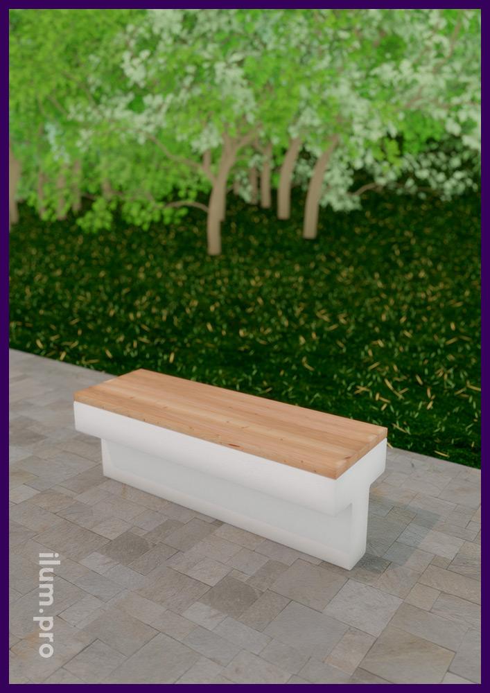 Скамейки и стулья из бетона и дерева для установки в парках, скверах и частных владениях
