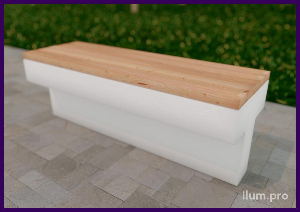 Садово-парковая мебель из бетона и дерева - модульные скамейки для благоустройства улицы