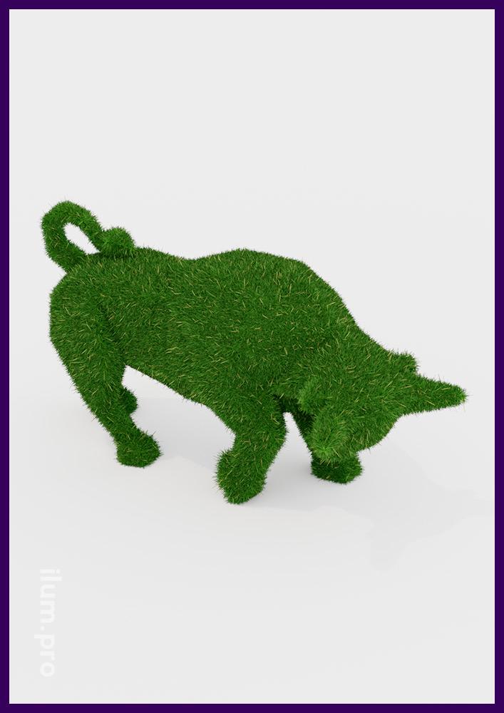 Декоративные фигуры для украшения территории - топиари в виде быка зелёного цвета
