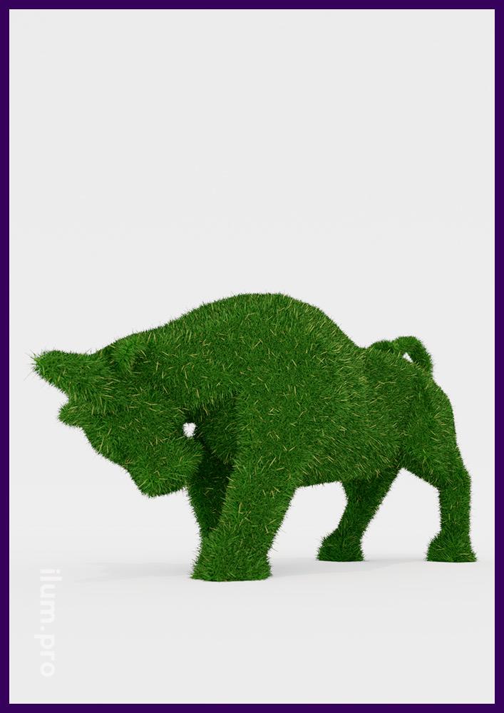Зелёный бык с покрытием искусственной травой - ландшафтная скульптура топиарии для сада