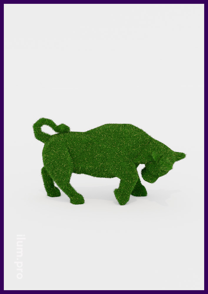 Декоративные фигуры животных из искусственной травы - топиари в форме быка