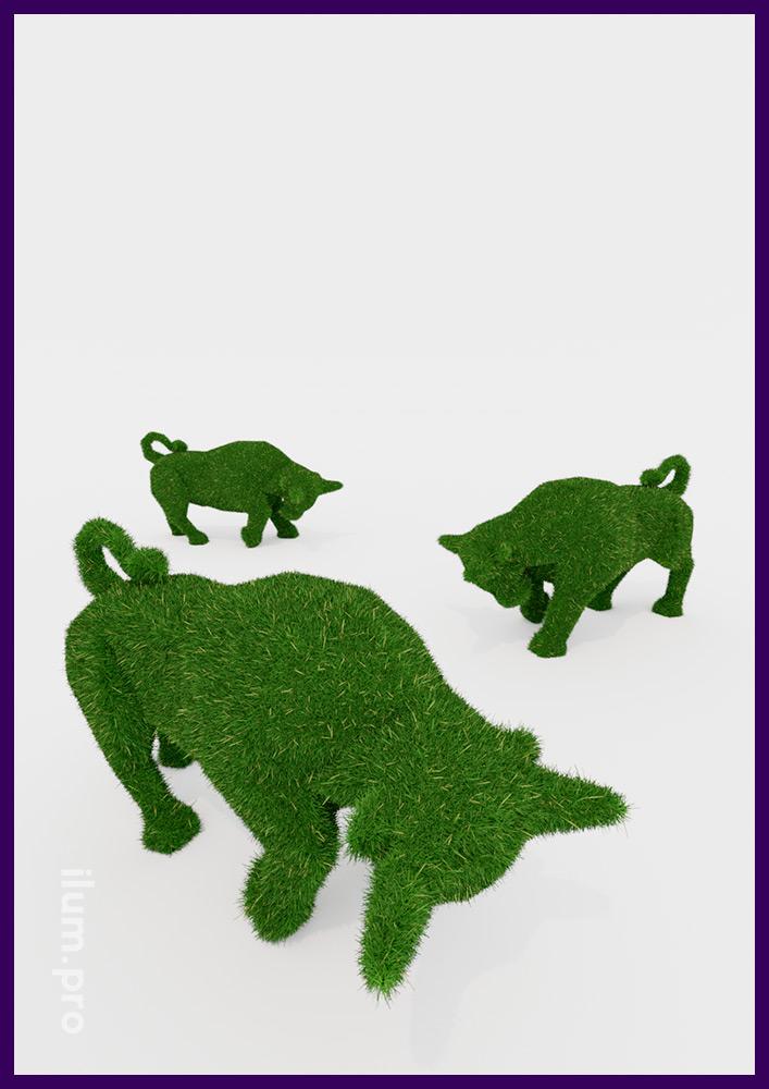 Ландшафтные фигуры быков из искусственной травы на каркасе из металла и композита