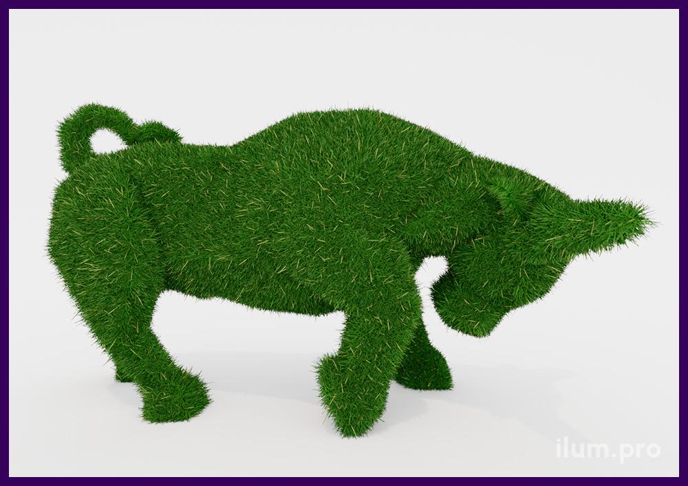 Скульптура топиари из искусственной травы для украшения парка в форме быка