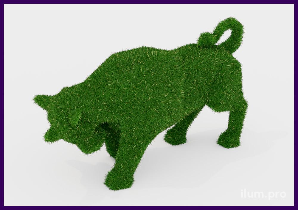 Ландшафтная фигура бык из искусственного газона для украшения территории